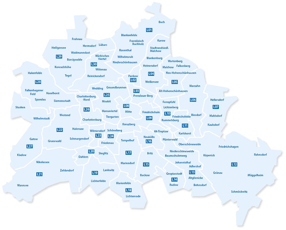 Karte der belieferten Berliner Ortsteile